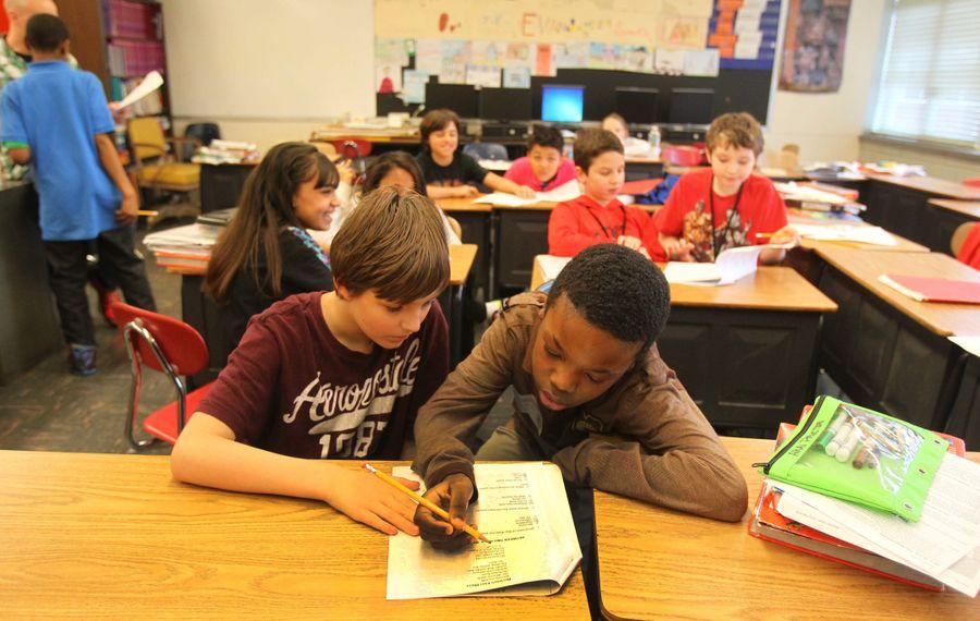Students during ELA class at Cheektowaga Middle School. (Mark Mulville/Buffalo News)