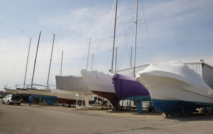 File photo of boats in storage at Rich Marina  in Buffalo. The budget would provide a sales tax break for purchases of yachts worth more than $230,000.  (John Hickey / Buffalo News)
