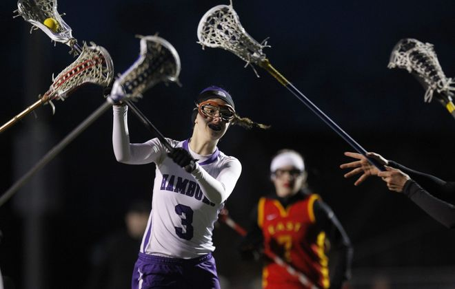 Hamburg's Claire Herrmann was tough to stop, scoring nine goals in a 14-6 lacrosse win over Williamsville East.