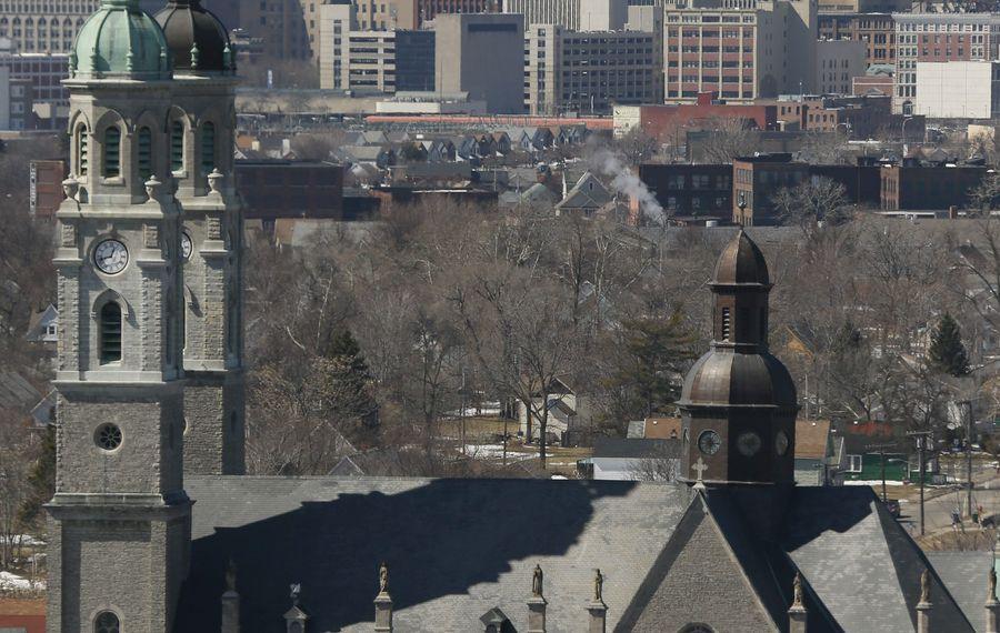 St. Stanislaus Church as seen from the Central Terminal, Tuesday, March 24, 2015.  (Derek Gee/Buffalo News)