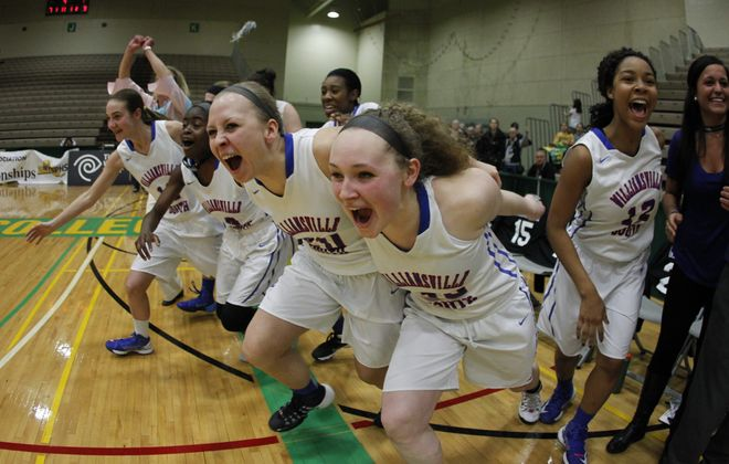 The Williamsville South bench explodes with jubilation as the Billies become the first Section VI team since 1994 to win the state Class A title.