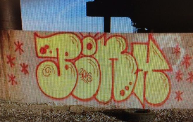 'Bonx' tag allegedly work of suspect arrested Thursday, March 19, 2015, by Buffalo police.
