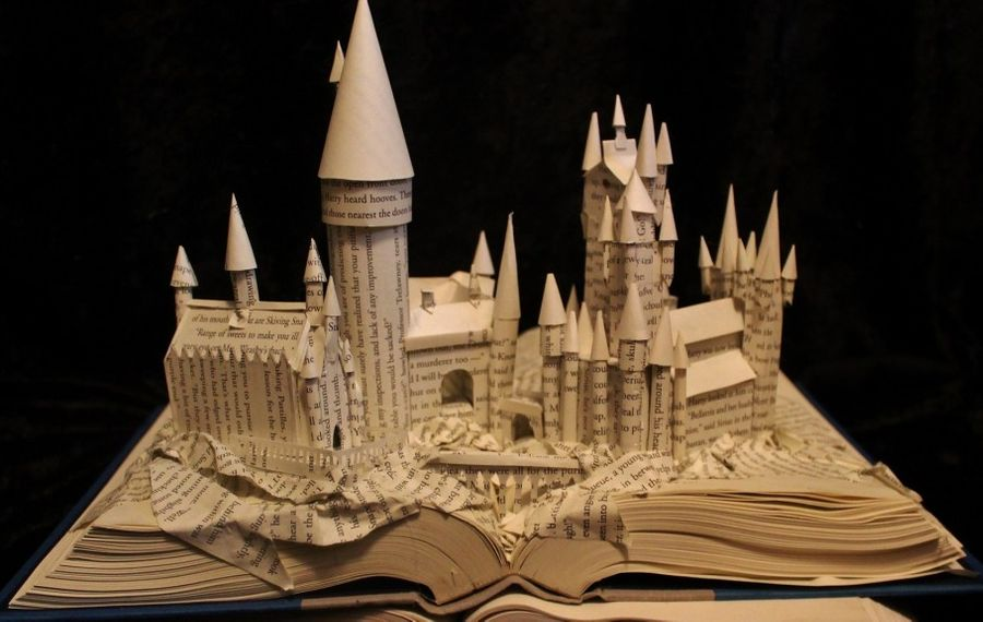 """Hogwarts,"" a book-based sculpture by Jodi Harvey-Brown, is on view in Kenan Center's exhibition ""Wood, Paper, Scissors."""