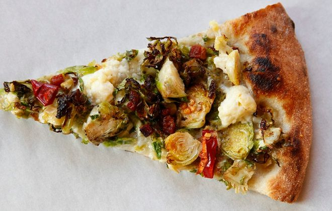 The Brussels sprouts and pancetta pizza from the Elm Street Bakery made Andrew Galarneau's list of top 10 pizzas. (Sharon Cantillon/Buffalo News)