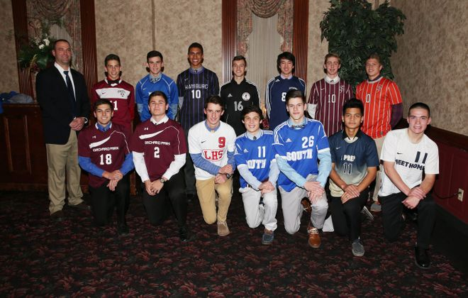FOOT SOLDIERS: Back row from left to right: Coach of the year: Josh Dannecker (Orchard Park), Nick Dumond (Starpoint), Troy Brady (Grand Island), Shane Greene (Hamburg), Jeremy Bari (Niagara-Wheatfield), Harrison Fay (East Aurora), Hunter Walsh (St. Joe's), William Boerema (St. Joe's). Front row from left to right: Connor Saeli (Orchard Park), Ati Mraz (Orchard Park), Luke Loecher (Lancaster), Tony Carducci (Williamsville South), Alex DiCarlo (Williamsville South), Kee Doe (I-Prep/Grover Cleveland) and Joey Keem (Sweet Home).