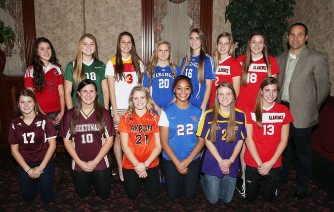 The All-WNY girls soccer team. Back row, from left: Morgan Zlockie (Ellicottville),Emma Gervase (Nardin), Marissa Birzon (Williamsville East), Marcy Barberic (Grand Island), Madisyn Pezzino (Grand Island), Hannah Spitzer (Clarence), Shannon Carr (Clarence), Tom Furminger (Clarence), WNY Coach of the Year. Front row, from left: Lauren Testa (North Tonawanda), Megan Dulniak (Cheektowaga), Cailin Regan (Akron), Monique Green (Williamsville South), Olivia Schmidt (Holland) and Sydney Cerza (Clarence), WNY Player of the Year.