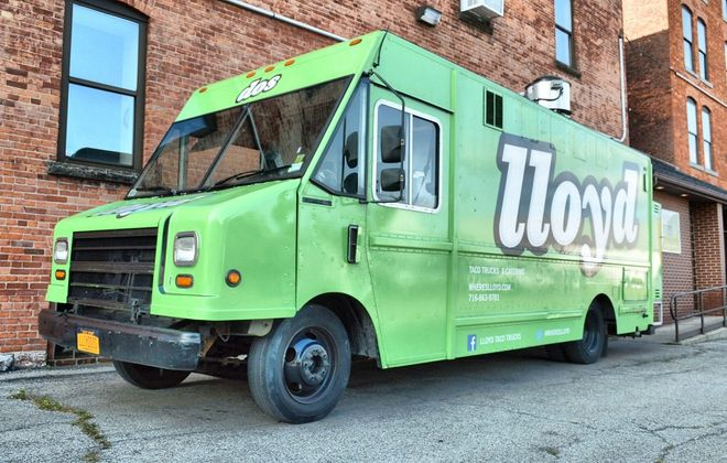 Lloyd Taco Truck before one of its birthday parties at Artisan Kitchens and Baths. (Cody Osborne/Special to the News)