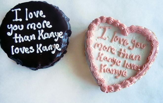 Cookie cakes from the Lexington Co-Op were frosted with a special Valentine's Day message. (Lexington Co-Op)