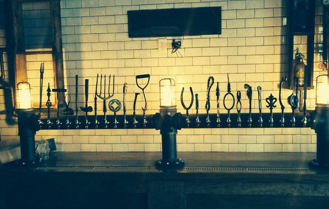 Decorative tap handles inside Allen Burger Venture. (ABV's Facebook page)