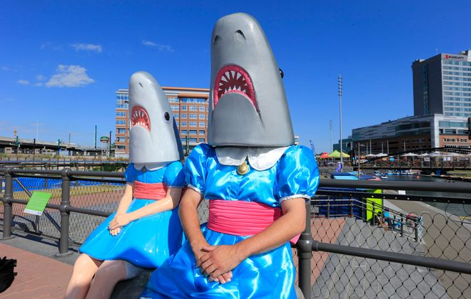 Adam Kreutinger teaches art at St. Mark School. He designed his own Shark Girl costume to teach his class.