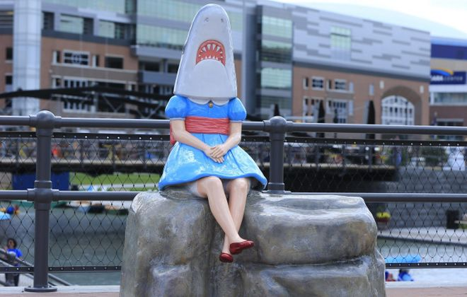 Shark Girl at Canalside. (Harry Scull Jr./News file photo)
