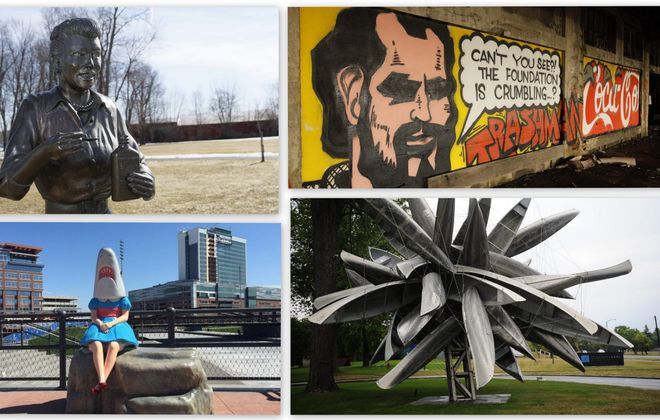 "Find your way from ""Scary Lucy"" to a hidden tribute to Spain Rodriguez, Nancy Rubins' exploding canoe sculpture and the popular ""Shark Girl"" with The Buffalo News' public art map."