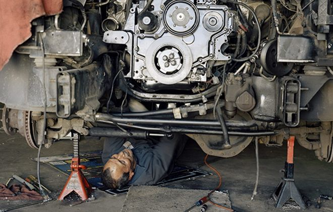 "Justine Kurland's photograph ""Rebuilt Engine"" is part of the Albright-Knox Art Gallery's exhibition ""Overtime: The Art of Work."""