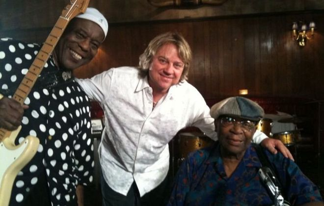 Tom Hambridge, seen here with Buddy Guy (left) and B.B. King, (right) will perform with Guy at UB's CFA on Wednesday, and solo at the Sportsmen's Tavern on Thursday.