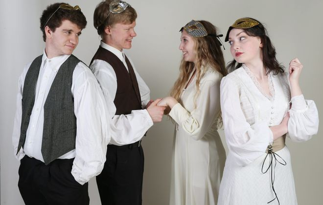 """The Hamburg High School Drama Club is presenting """"Much Ado About Nothing."""" April 24 and 25 at 7:30 p.m. and April 26 at 2 p.m.From left are Brandon Mecklenburg as Benedick, Christopher Webster as Claudio, Beverly DiCorso as Hero and Corrinne Greene as Beatrice.  Photo taken, Wednesday, April 1, 2015.  (Sharon Cantillon/Buffalo News)"""