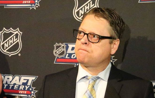 Tim Murray spoke to the press following the NHL Draft Lottery. (James P. McCoy/Buffalo News)