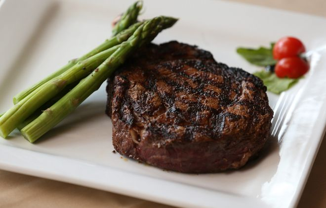The steak is grain-fed from the 1855 Ranch in Nebraska. (Sharon Cantillon/Buffalo News)