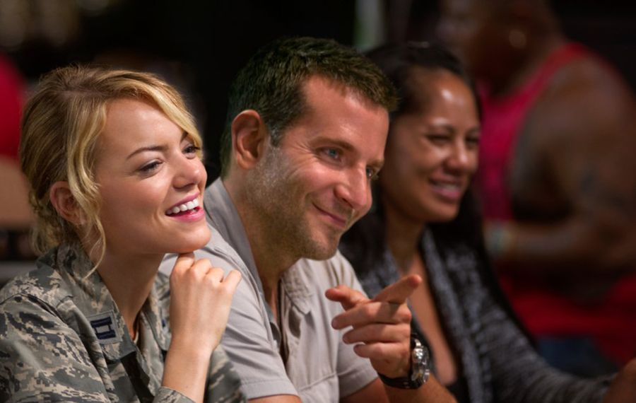 "Emma Stone and Bradley Cooper have a few good moments of dialogue in ""Aloha"" but not enough to save the movie from mediocrity."