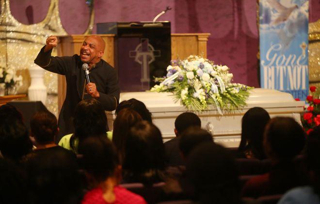 The Rev. Darius Pridgen preaches during the funeral service for Raekwon Jabbar at True Bethel Baptist Church in Buffalo Saturday.