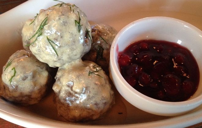 The Swedish meatballs at Hydraulic Hearth come served with lively lingonberry sauce. (Andrew Galarneau/Buffalo News)
