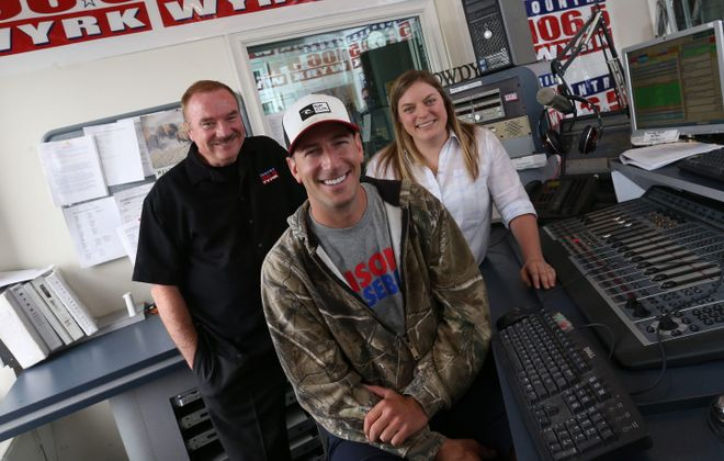 "Dale Mussen, left, Clay Moden and Liz Mantel are the DJs for WYRK's morning program. ""I think that's country music: There's a song for every emotion you're feeling,"" Mantel said."