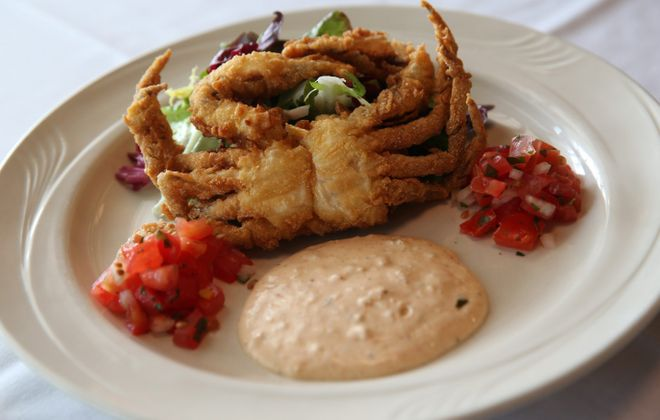 Hutch's crispy soft-shelled crab with a Cajun remoulade, market salad and pico de gallo. (Sharon Cantillon/Buffalo News file photo)
