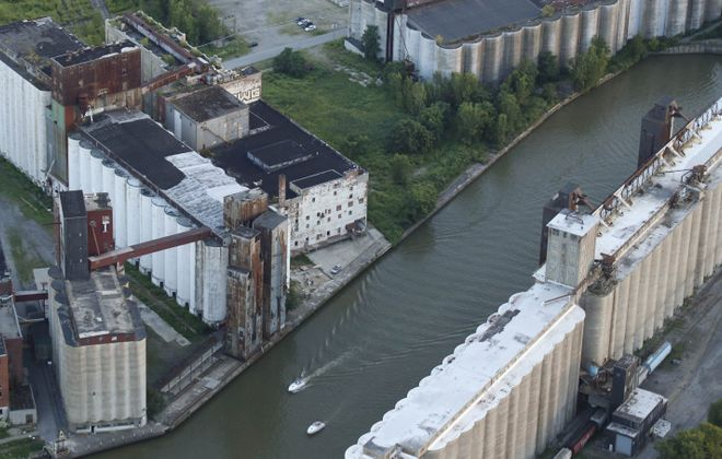 A look from above at Silo City, which will host an Urban Drive-In for various movie showings. (Derek Gee/Buffalo News)