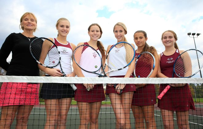 Orchard Park coach Sandy Trampert saw top singles players (left to right) Haley Hollins, Rachel Johnson and Shayleen Brennan graduate but Lauren Karoglan and Kristen Zablonski (left to right, in maroon) return. (Harry Scull Jr./Buffalo News)