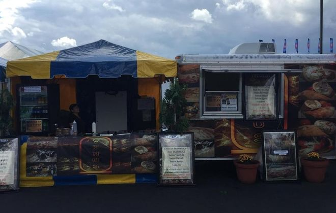 Venus Egyptian stand at the Erie County Fair offered kofta, chicken shawarma and more. (Andrew Galarneau/Buffalo News)