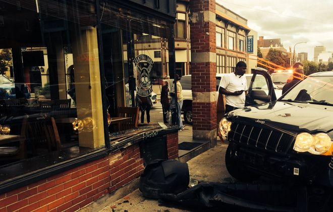 An SUV collided with Cantina Loco Tuesday afternoon. (Photo: Mike Andrzejewski)