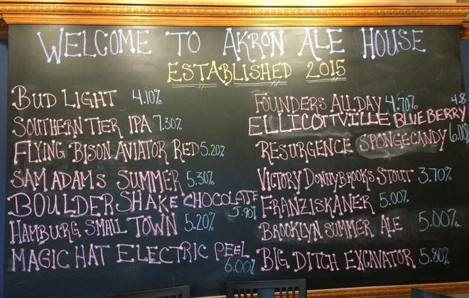 Akron Ale House tap list starts with Bud Light, but also offers local brews (Facebook).