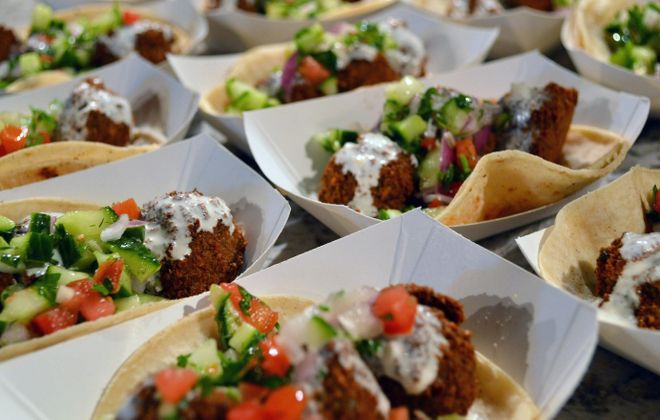 Falafel tacos from the 2014 Lloyd Taco birthday party at Artisan Kitchens and Baths. (Cody Osborne/Special to The News)