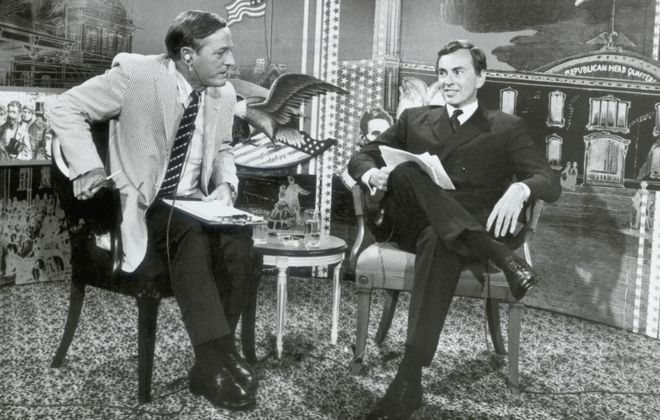 """The 1968 televised debates between William F. Buckley Jr., left, and Gore Vidal are the basis of the documentary """"Best of Enemies."""""""