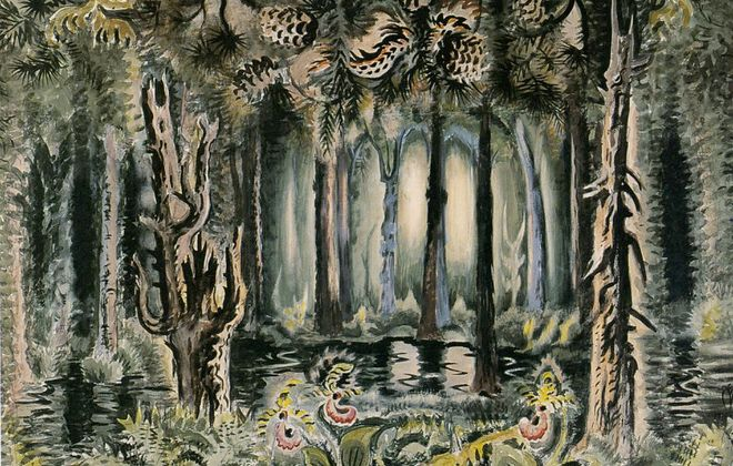 """""""In the Deep Woods,"""" a painting  Charles Burchfield worked on from 1918 to 1958, is on view in the Burchfield Penney Art Center."""