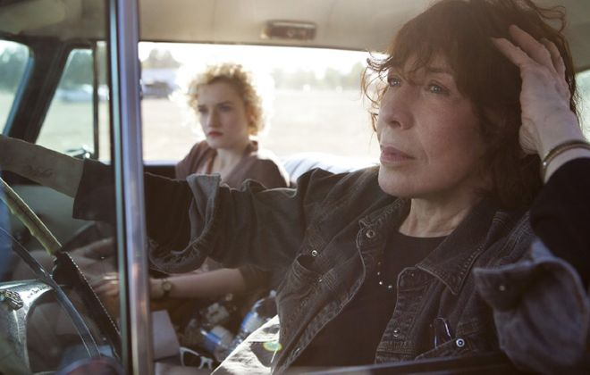"Julia Garner, left, and Lily Tomlin star in ""Grandma."""