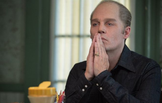"Johnny Depp stars as Whitey Bulger in ""Black Mass."""