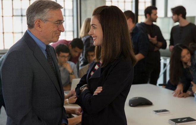 "Robert De Niro and Anne Hathaway star in ""The Intern."""