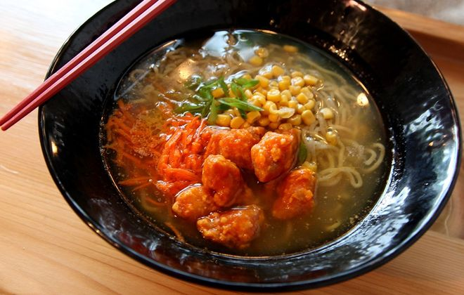 Buffalo chicken ramen from Sato is a fusion of a Buffalo staple with authentic Japanese ramen. (Jenny Luk/Special to The News)
