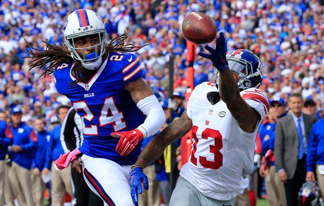 "Cornerback Stephon Gilmore, one player who faced Odell Beckham Jr. during much of Sunday's game, described Beckham as a little brother who throws ""tantrums"" after the whistle. (Harry Scull Jr./Buffalo News)"
