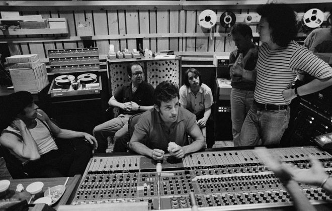 """Bruce Springsteen with members of the E Street Band and the production team during the making of """"The River""""."""