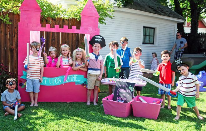 Katie Kinder Potenza of Buffalo was inspired by Pinterest to create this princess photo booth for her daughter's summer birthday party. (Rick Warne)