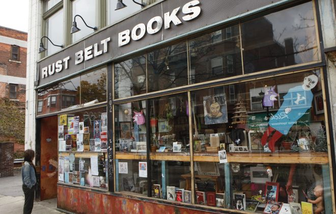 Rust Belt Books closed its Allen Street store, above, and moved to a new location on Grant Street last winter. Few at- tempts are being made to prevent the slow devolution of interesting thoroughfares like Allen into bland monocultures.