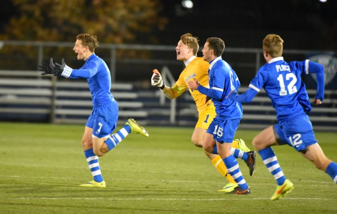 UB's Russell Cicerone celebrates his overtime goal that beat Western Michigan to reach the MAC Final. (Photo credit: Ernie Aranyosi)