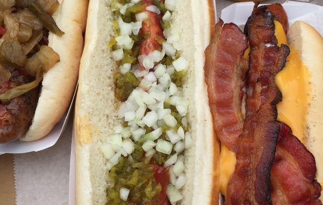 The footlong hot dog with ketchup, onions and relish. (Ben Tsujimoto/Buffalo News)
