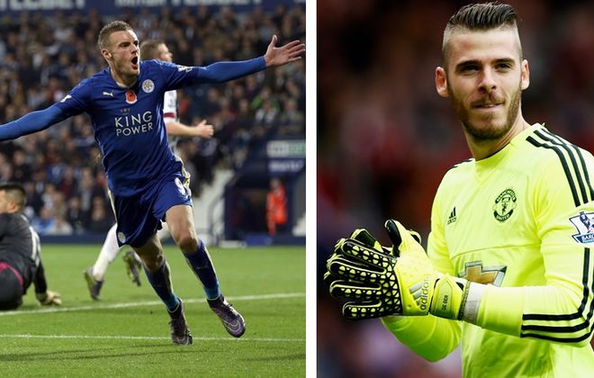 Leicester City's Jamie Vardy, left, and Manchester United's David de Gea are two players to watch in Saturday's clash. (Getty Images)
