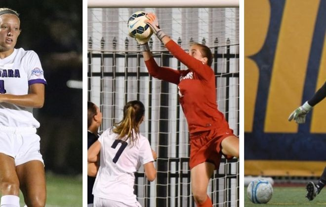 From left: Hayley Besaw, Erin Kinz and Kailee DeFranks are all former Section VI stars in NCAA Division I.