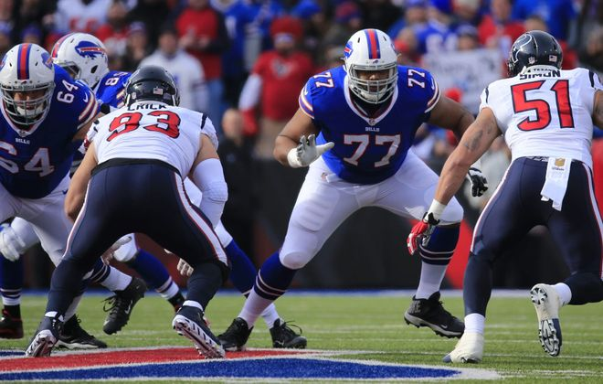 Buffalo Bills lineman Richie Incognito and Cordy Glenn block against the Houston Texans during the second quarter at Ralph Wilson Stadium on Sunday, Dec. 6, 2015.  (Harry Scull Jr./Buffalo News)