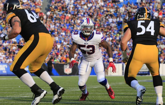 Buffalo Bills Nigel Bradham during second half action against the Pittsburgh Steelers at Ralph WIlson Stadium on Saturday, Aug. 29, 2015.  (Harry Scull Jr./Buffalo News)