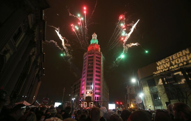 Annual New Year's Eve ball-drop at Electric Building in downtown Buffalo, shown here ringing in 2013, has new support from 14 businesses. They've teamed up with the sponsoring PAL, whose fundraising has lagged.
