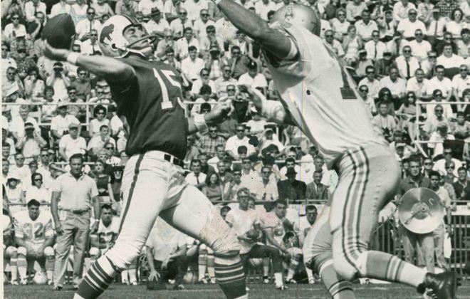 Former Bills quarterback Jack Kemp uncorks a pass downfield. Under Kemp, Buffalo won an AFL Championship. (Buffalo News file photo)